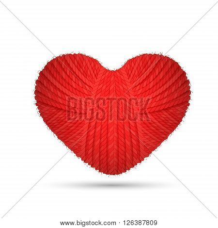 Valentines heart. Valentines day heart made of woolen yarn isolated on white background. Creative heart. Design heart. Woolen heart. Heart icon.