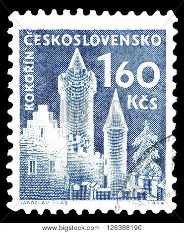 CZECHOSLOVAKIA - CIRCA 1960 : Cancelled postage stamp printed by Czechoslovakia, that shows Kokorin castle.