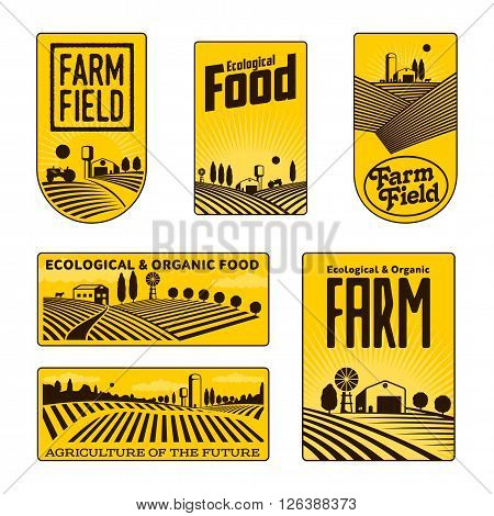Farm field labels set of vector logos farming, yellow field with a barn, land and trees, badges with fields fermpeskie yellow badges isolated on white background