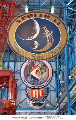 FLORIDA, USA - DEC 20: Apollo Misson Badges in Apollo/Saturn V Center at Kennedy Space Center Visitor Complex on Dec. 20, 2010 in Cape Canaveral, Florida, USA.