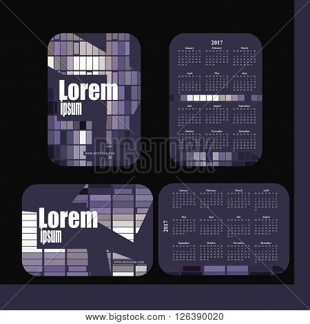 2017 pocket calendar. Template calendar grid. Vertical horizontal orientation of days of week. Illustration in vector format - gray purple