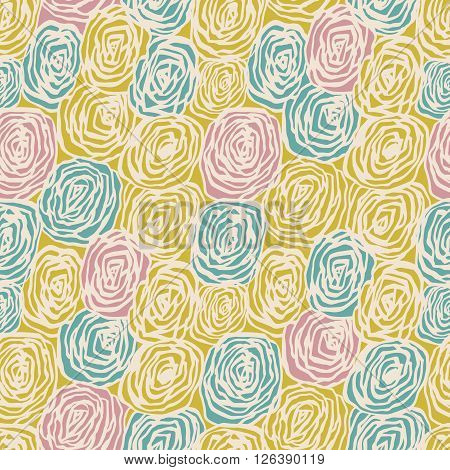 Vector seamless pattern with decorative roses. Beautiful floral background. Tender backdrop. Use for wallpaper pattern fills web page background.