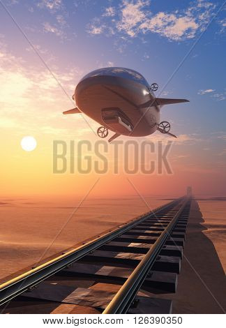 Modern airship over the railway.3D rendering