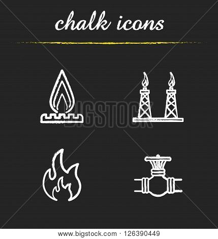 Gas industry chalk icons set. Gas stove, pipeline valve, flammable sign, gas platform. White illustrations on blackboard. Vector chalkboard logo concepts