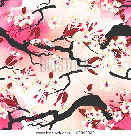 Blooming pink cherry branches vector seamless background