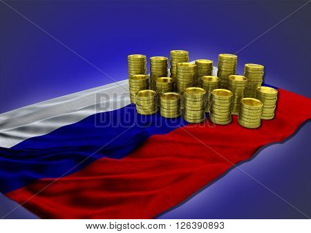 Russian economy concept with national flag and stack of golden coins on blue background - 3D render