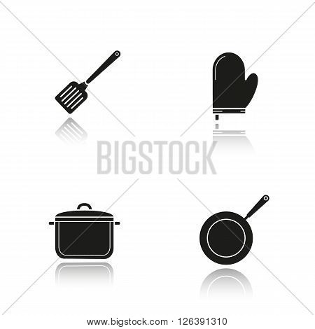 Kitchenware drop shadow black icons set. Logo concepts. Vector illustrations. Steel spatula, oven glove, stew pot and frying pan. Kitchen tools items. Cooking equipment. Cuisine instruments