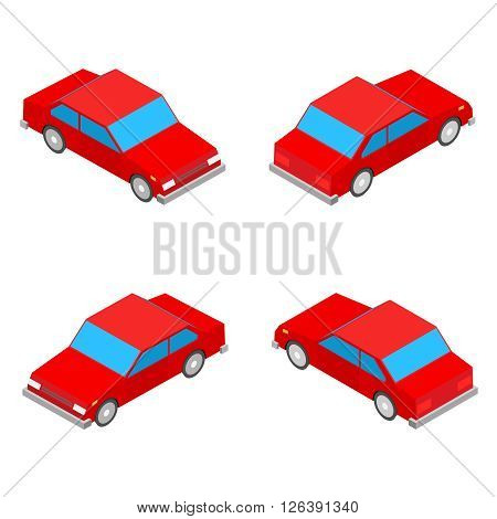 red isometric coupe car isolated on the white background