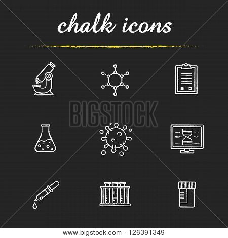 Science laboratory tools chalk icons set. Research biological lab equipment. Scientific, pharmaceutical and medical lab items. White illustrations on blackboard. Vector chalkboard logo concepts