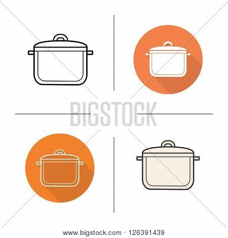 Stew pot flat design, linear and color icons set. Kitchen tool. Cooking equipment. Cuisine instrument. Contour and long shadow logo concepts. Isolated vector illustrations