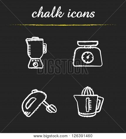Kitchen tools chalk icons set. Multi speed blender, food scales, hand mixer and juicer symbols. Kitchenware items. White illustrations on blackboard. Vector chalkboard logo concepts