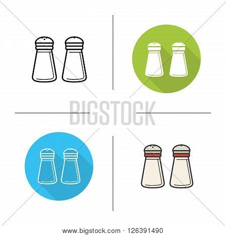 Salt and pepper shakers flat design, linear and color icons set. Kitchen tools items. Cooking equipment. Cuisine instruments. Contour and long shadow logo concepts. Isolated vector illustrations