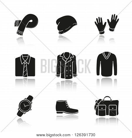 Men's clothes and accessories drop shadow black icons set. Wrist watch, hand bag, classic shirt and gloves. Winter hat, boots and sweater. Autumn coat. Logo concepts. Vector illustrations