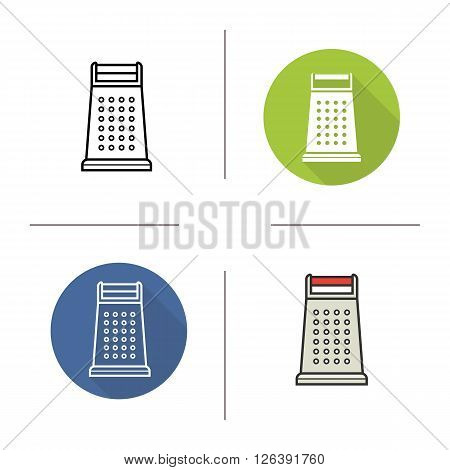 Grater flat design, linear and color icons set. Contour and long shadow logo concepts. Isolated vector illustrations. icon. Kitchen tools items. Kitchenware cooking equipment. Cuisine instruments
