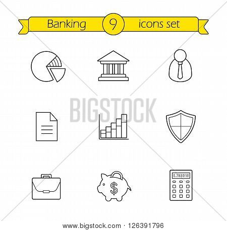 Banking and finance linear icons set. Online banking customer service contour icons. Bank building, money saving piggy bank and income diagram thin line illustrations. Vector isolated outline drawings