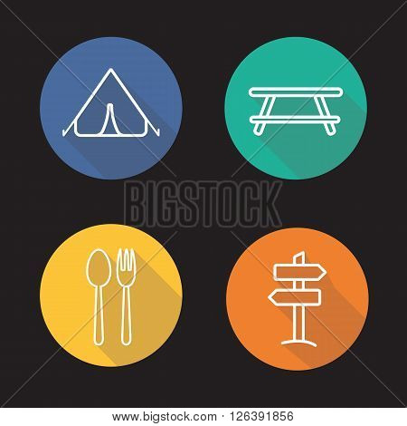Camping flat linear long shadow icons set. Tent, picnic table, road pointer, fork and spoon symbol. Tourism and vacations items. Outline logo concepts. Vector line art illustrations