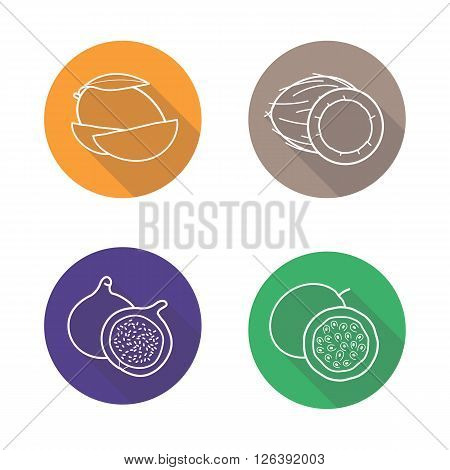 Tropical fruits flat linear long shadow icons set. Mango slice, coconut half, fig and passion fruit  symbols. Outline logo concepts. Vector line art illustrations