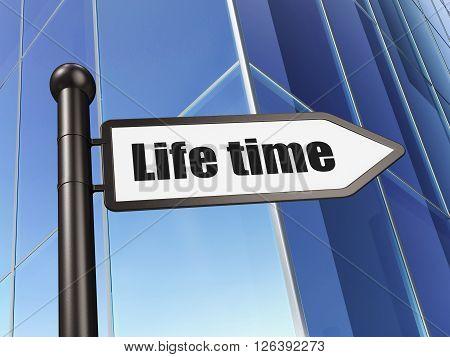 Timeline concept: sign Life Time on Building background