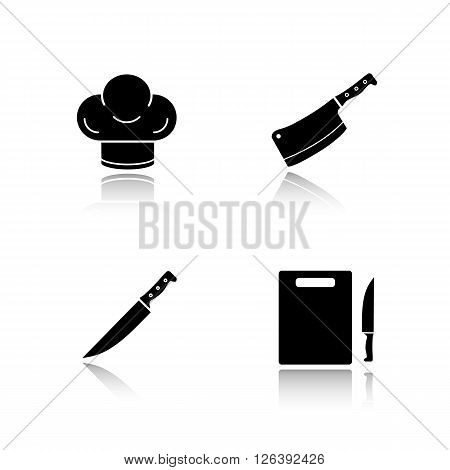 Kitchenware drop shadow black icons set. Chef hat, sharp knife, butcher chopper and cutting board. Restaurant kitchen tools items. Cooking equipment. Logo concepts. Vector illustrations