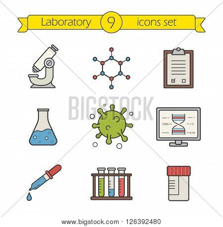 Science laboratory tools color icons set. Logo concepts. Research biological lab equipment. Scientific and medical lab items. Molecular structure and virus cell. Vector isolated illustrations