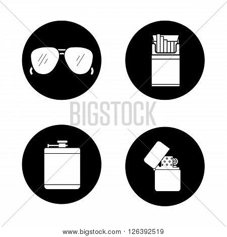 Men's accessories black icons set. Alcohol hip flask, open cigarette pack, sunglasses and flip lighter symbols. Everyday carry items. White silhouettes illustrations. Vector logo concepts
