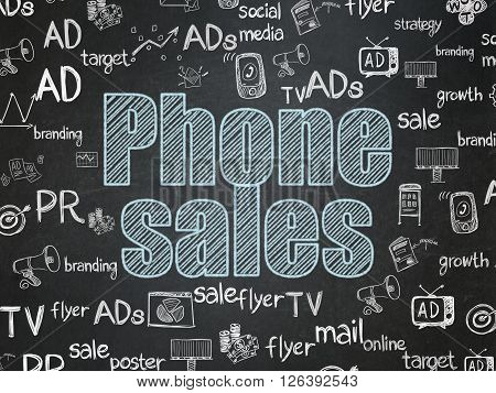 Advertising concept: Phone Sales on School board background