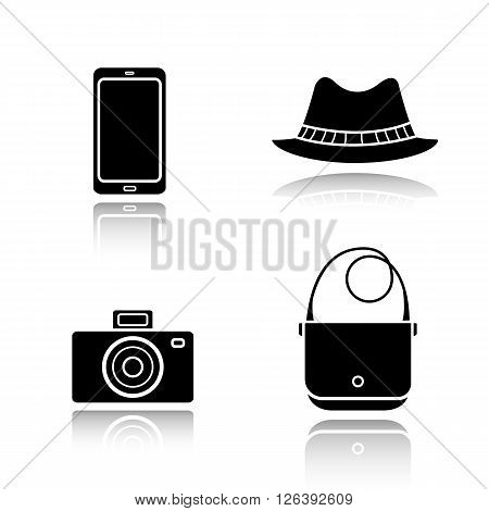 Men's accessories drop shadow black icons set. Homburg hat, slr photo camera, smart phone and handbag. Everyday carry items. Modern gadgets and fashion symbols. Logo concepts. Vector illustrations