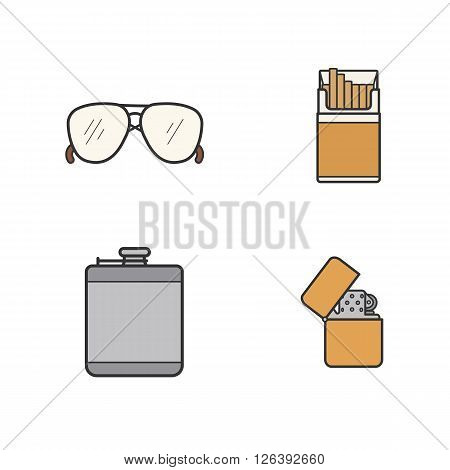 Men's accessories color icons set. Alcohol hip flask, open cigarette pack, sunglasses and flip lighter symbols. Everyday carry men items. Logo concepts. Vector isolated illustrations