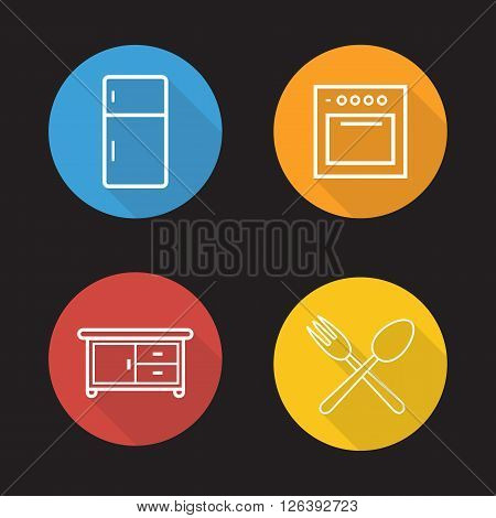 Kitchen interior flat linear icons set. Fridge, oven, cooking cabinet, fork and spoon symbols.  Long shadow outline logo concepts. Vector line art illustrations