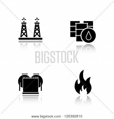 Oil industry drop shadow black icons set. Oil drilling tower, barrel, oil storage, flammable sign. Logo concepts. Vector illustrations