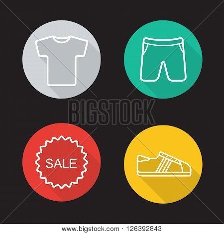 Sportswear flat linear long shadow icons set. T-shirt, shorts, sneakers and sale badge symbols. Sport clothes and shoes. Web store items. Outline logo concepts. Vector line art illustrations
