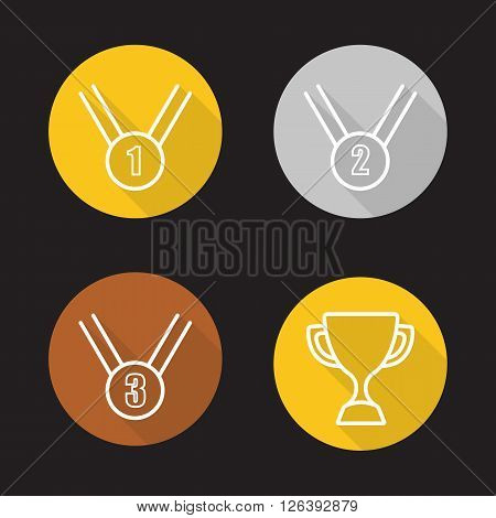 Competition rewards flat linear long shadow icons set. Winner cup, gold, silver and bronze medals. Sport games award ceremony items. Outline logo concepts. Vector line art illustrations