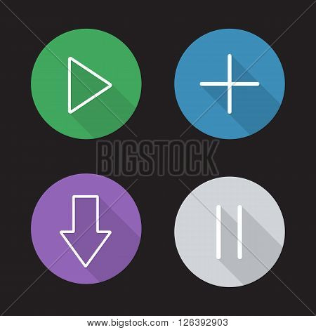 Audio player flat linear long shadow icons set. Play, add new track, download and pause buttons. Multimedia app navigation interface. Outline logo concepts. Vector line art illustrations