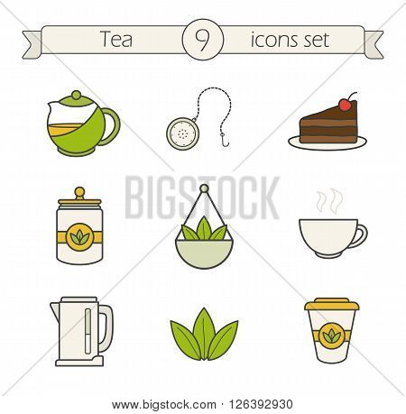 Tea icons set. Color. Tea shop items. Teapot ball infuser, chocolate cake, loose tea leaves and disposable paper cup. Electric kettle and steaming teacup. Logo concepts. Vector isolated illustrations