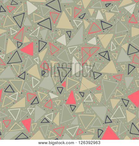 Geometric pattern. Seamless background with triangles and polka dots. Seamless background with triangles and polka dots. Endless olive background.