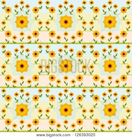 Seamless Sunflower Vector Pattern. Can Be Used For Wallpaper, Pattern Fills, Background, Surface Tex