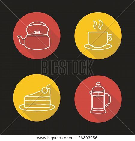 Tea and coffee flat linear long shadow icons set. Teapot, steaming teacup, pie slice and coffee french press symbols. Outline logo concepts. Vector line art illustrations