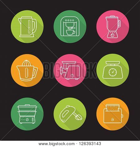 Household appliances flat linear icons set. Cooking kitchen tools. Toaster, steamer and electric meat grinder. Long shadow outline logo concepts. Line art illustrations on color circles. Vector