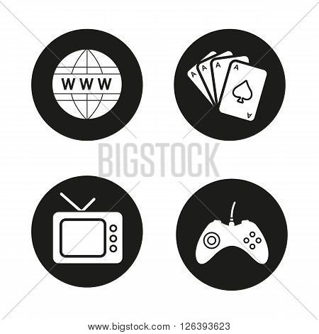 Addictions and bad habits black icons set. Game console joystick, www network symbol, playing cards deck and retro tv. Internet and gambling addictions. White illustrations. Vector logo concepts