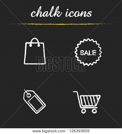 E-commerce chalk icons set. Round sale sticker and shopping bag icons. Price tag and shopping cart symbols. Supermarket shopping items. White illustrations on blackboard. Vector logo concepts