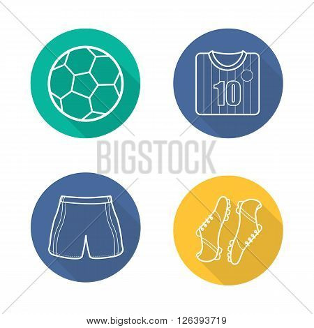Football equipment flat linear long shadow icons set. Football player shirt, boots and sorts. Soccer ball. Football player kit. Soccer items. Outline logo concepts. Vector illustrations