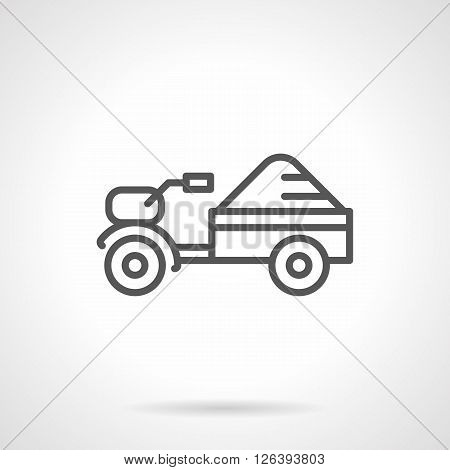 Small motor tractor with trailer with crop. Farming machinery. Agriculture equipment. Simple black line vector icon. Single element for web design, mobile app.