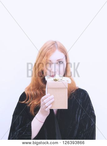 Woman With Gift Box Portrait On White