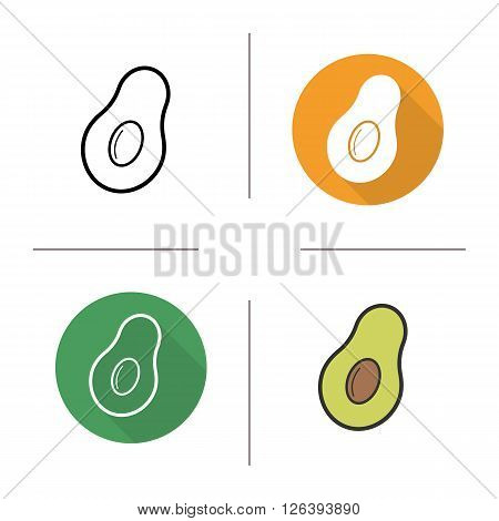 Avocado flat design, linear and color icons set. Exotic tropical fruit. Halved green ripe avocado with seed. Contour and long shadow logo concepts. Isolated vector illustrations. Infographic elements