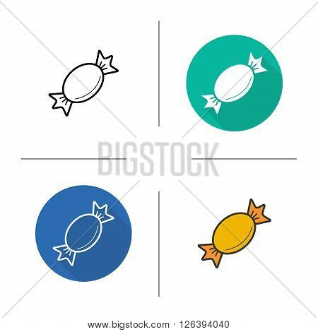 Candy flat design, linear and color icons set. Wrapped sweet in different styles. Confectionery candy product. Long shadow logo concept. Isolated candy vector illustrations. Infographic elements