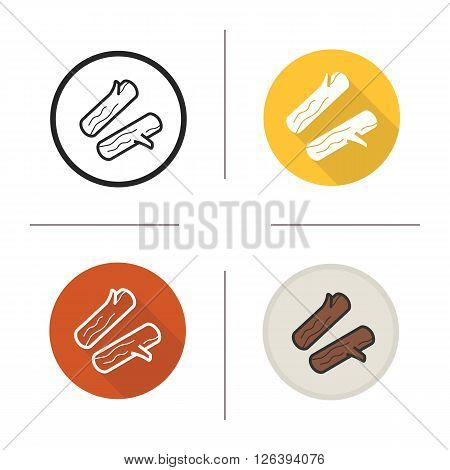 Firewood flat design, linear and color icons set. Chopped wood for camping. Outdoor activity items. Long shadow logo concept. Isolated firewood vector illustrations. Infographic elements