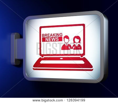 News concept: Breaking News On Laptop on billboard background