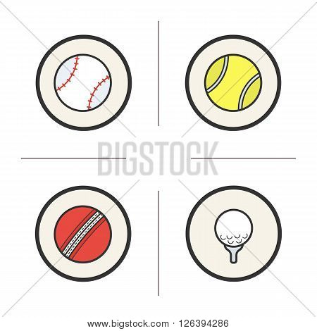 Sport games balls color icons set. Baseball and tennis balls. Red cricket ball and golf ball with tee. Sport equipment. Logo concepts. Vector isolated illustrations