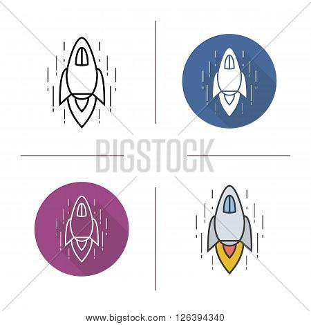Spaceship flat design, linear and color icon set. Rocket spaceship flying in space. Space shuttle icon. Spaceship logo concept. Isolated space shuttle illustration. Goal achievement spaceship concept