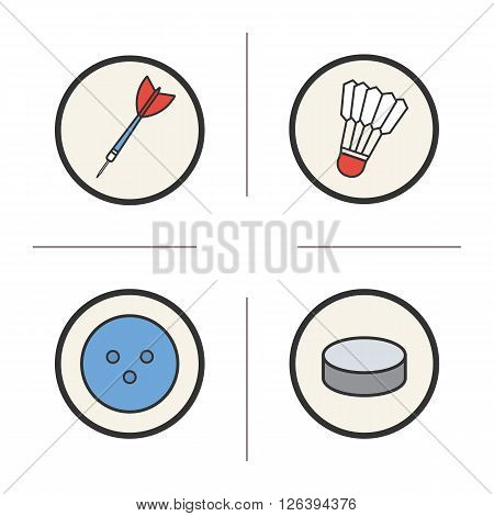 Sports equipment color icons set. Sharp darts and badminton shuttlecock with feather. Round bowling ball and hockey puck. Challenge sport activity tools. Logo concepts. Vector isolated illustrations